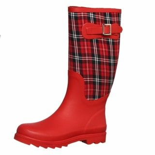 Dirty Laundry Womens Rocky Top Red/ Red Plaid Rain Boots