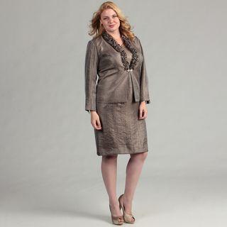 Jessica Howard Womens Plus Size Ruffle Dress