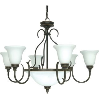 Nuvo Bistro 9 light Rustic Bronze Chandelier