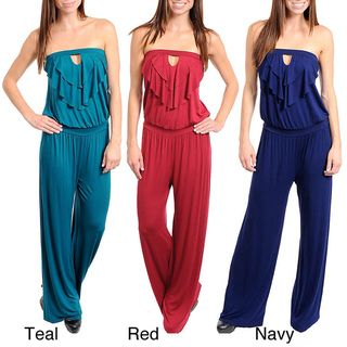Stanzino Womens Strapless Ruffled Front Jumpsuit