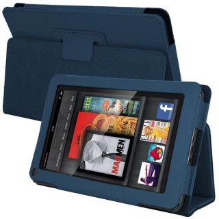 SKQUE  Kindle Fire Blue Leather Case