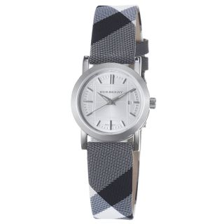Burberry Womens Check Engrave Silver Dial Fabric Check Strap Watch