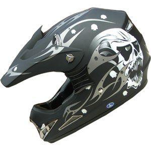 ATV Motocross Adult DOT Helmet 181 skull Flat Black Size