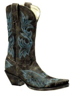 Corral Womens Distressed Black Eagle Stitched Boot   R1963 Shoes