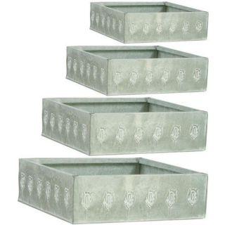 Jardinière en zinc blanchi, série de 4, GCP115SDe 18X18X7 cm à