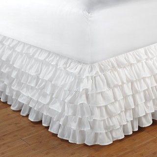 White Queen size Multi ruffle 15 inch Drop Bedskirt