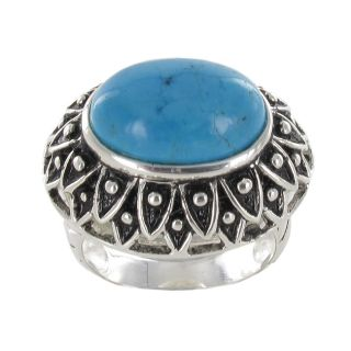 Sterling Silver Oval Cut Antiqued Created Turquoise Ring