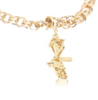 14K Yellow Gold Lamp Post Charm Jewelry