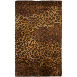 Handmade Leopard Gold/ Rust Hand spun Wool Rug (3 x 5)