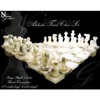 Chiellini Gray and White Tiered Alabaster Chess Set NS