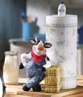 Farmer Cow In Overalls Paper Towel Holder By Collections