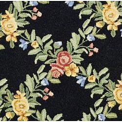 Hand hooked Garden Trellis Black Wool Rug (8 Round)