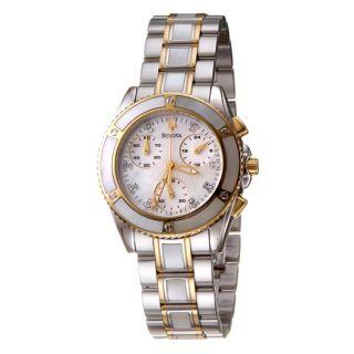 Bulova Womens Bracelet Two tone Steel Chronograph Quartz Watch