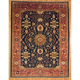 Afghani Hand knotted Navy/ Red Oushak Wool Rug (810 x 117