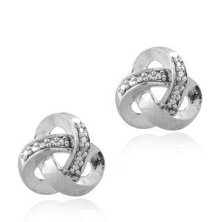Sterling silver Love Knot Earrings with Round cut Diamond Accents