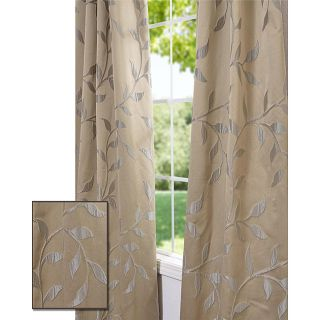 Pale Gold Textured Vine Faux Silk 120 inch Jacquard Curtain Panel