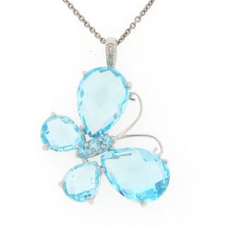 Meredith Leigh Sterling Silver Blue Topaz and Diamond Butterfly