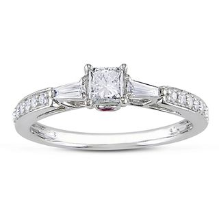 Miadora 10k White Gold 1/2ct TDW Diamond Engagement Ring (H I, I2 I3