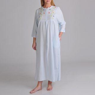La Cera Womens Plus Seersucker Zip Front Robe