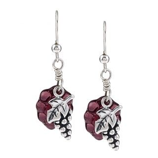 Silvermoon Sterling Silver Vine and Glass Grape Earrings