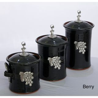 Artisans Domestic 3 piece Gourmet Canister Set with Vineyard Accents