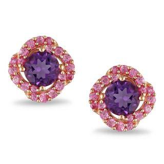 Miadora Pink Silver 1 3/4 ct TGW Amethyst and Pink Sapphire Stud