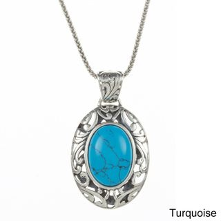 Sunstone Sterling Silver Oval Bali Filigree Necklace