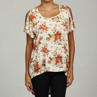 Razzle Dazzle Womens Floral Print Cold Shoulder Top