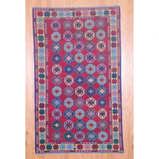 Afghan Hand knotted Soumak Red/ Gold Wool Rug (46 x 76)