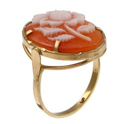 14k Yellow Gold Hand carved Shell Cameo Flower Ring