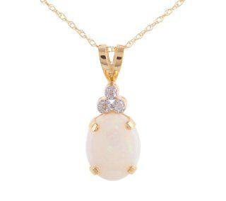 10k Yellow Gold Opal Diamond Accent Pendant Necklace, 18