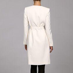 Calvin Klein Womens Cream Self Belt Longer Jacket Suit