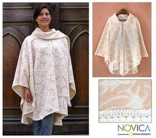 Snow Flowers Alpaca Wool Reversible Ruana Cloak (Peru)