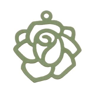 Sea Green Rose Outline Pendant 22mm Stamping By Ezel