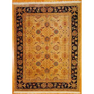 Indo Hand knotted Beige/ Black Mahal Wool Rug (89 x 117)