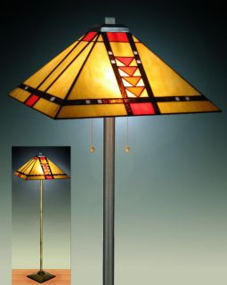 Tiffany style Stained Glass Mission Floor Lamp