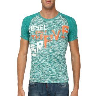 DIESEL T Shirt Homme Vert, blanc et orange   Achat / Vente T SHIRT