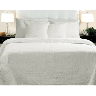 Adele Cotton King size White Quilt Set