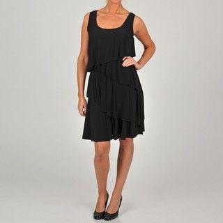 Tiana B Womens Black Assymertrical Tier Dress
