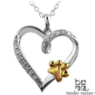 ASPCA Tender Voices Silver Diamond Accent Paw on Heart Necklace Today