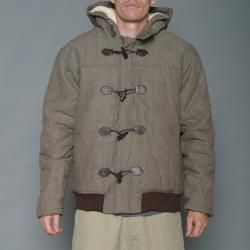 Imperious Mens Khaki/Brown Herringbone Wool blend Hooded Jacket