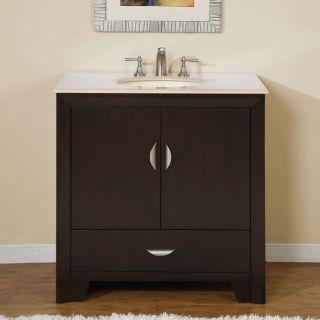 Silkroad Exclusive 36 inch Marble Stone Top Bathroom Vanity Lavatory