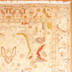 1950s Semi Antique Turkish Hand knotted Oushak Beige/Salmon Wool Rug