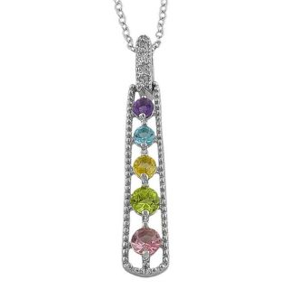 Sterling Silver Graduated Multi gemstone and Diamond Necklace