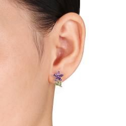 Miadora Sterling Silver Peridot and Amethyst Stud Earrings