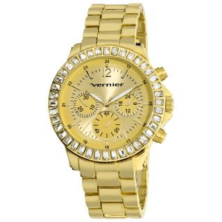 Vernier Womens Large Gold Tone Chrono Look Dial Dual Time Watch