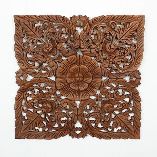 Light Teak Oil Carved Square Lotus Panel (Thailand) Today $109.99 2.0