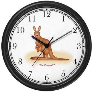 Kangaroo Mother and Baby (Joey) Cartoon JP Wall Clock by