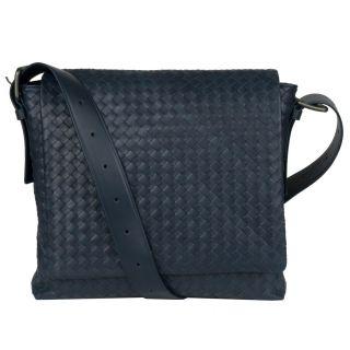 Bottega Veneta Navy Blue Leather Messenger Bag