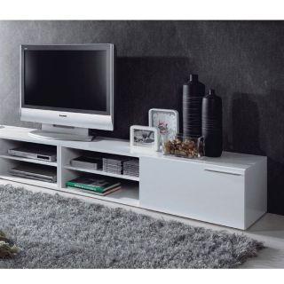 KIKUA Meuble TV 130cm Blanc brillant   Achat / Vente MEUBLE TV   HI FI